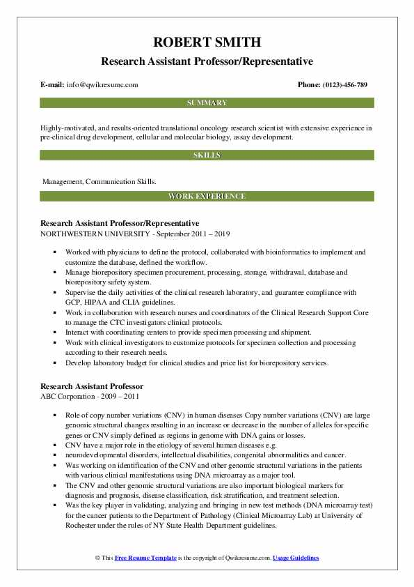 Research Assistant Professor Resume Samples Qwikresume