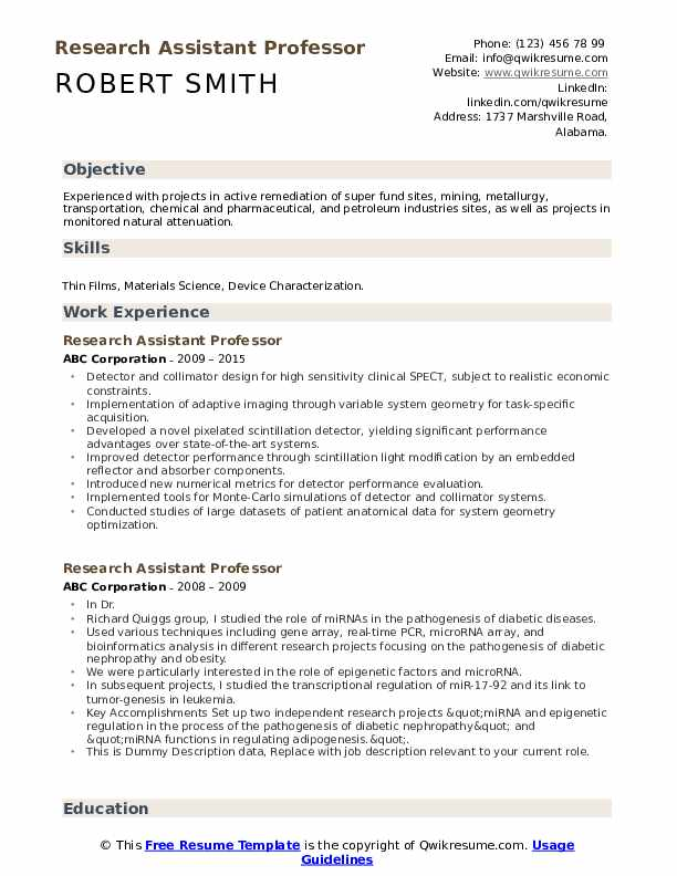 Research Assistant Professor Resume example