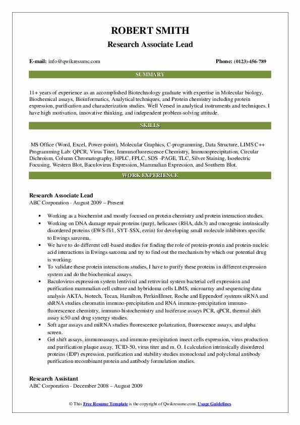 Research Associate Resume Samples Qwikresume