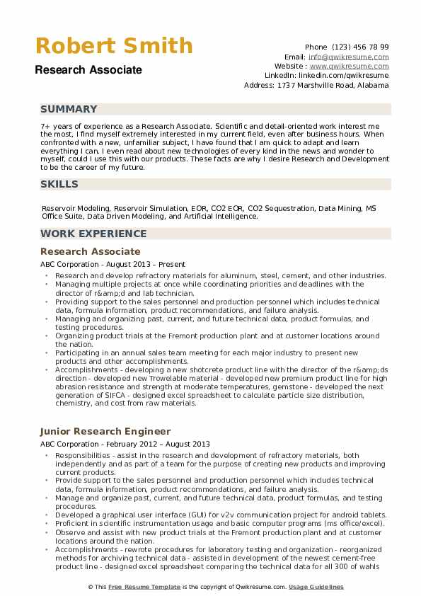 Research Associate Resume example