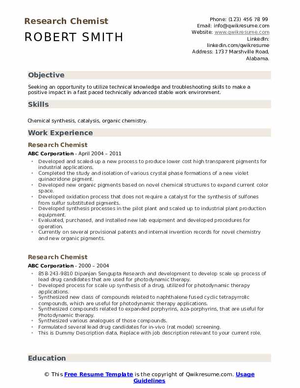 Research Chemist Resume example