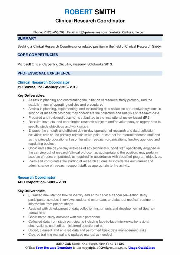 Clinical Research Coordinator Resume Sample