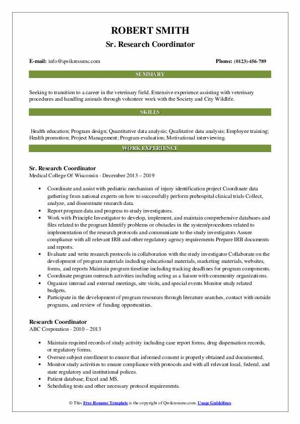 Sr. Research Coordinator Resume Template