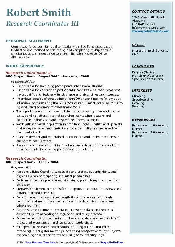 Research Coordinator III Resume Template