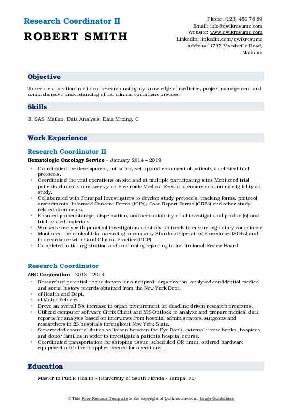Research Coordinator II Resume Template