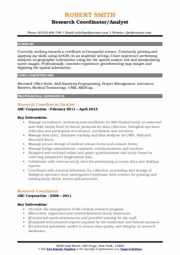 research coordinator resume samples  qwikresume