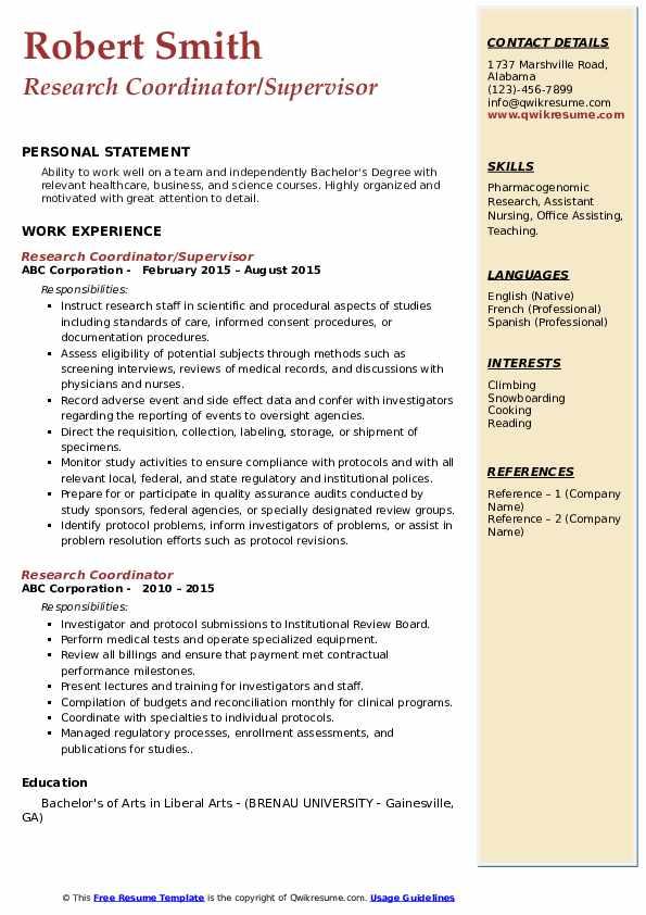 Research Coordinator/Supervisor Resume Example