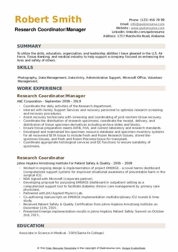 Research Coordinator/Manager Resume Template