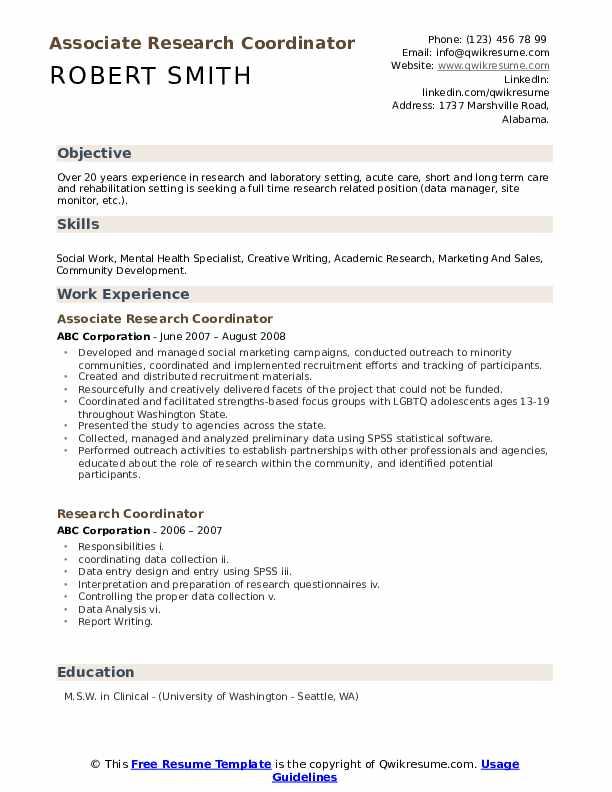 Associate Research Coordinator Resume Sample