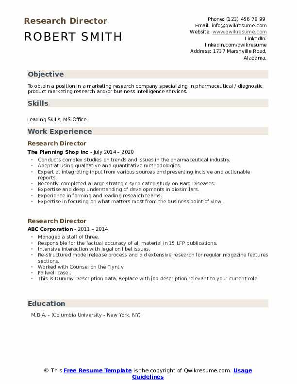 Research Director Resume example
