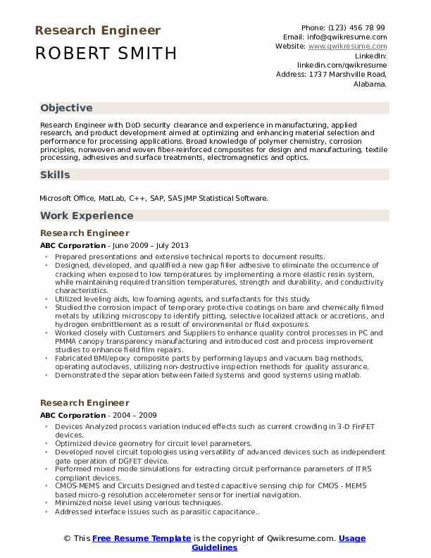 Research Engineer Resume Model