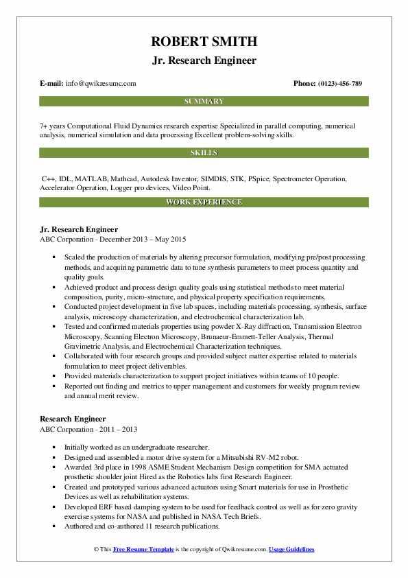 Jr. Research Engineer Resume Model