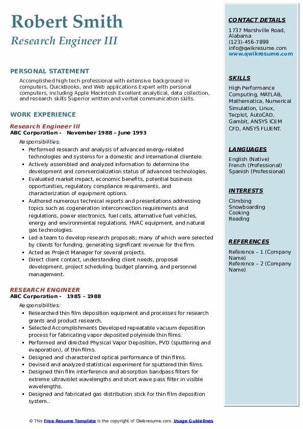 Research Engineer III Resume Format