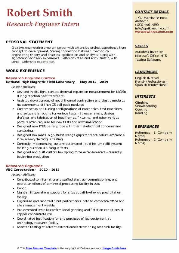 Research Engineer Intern Resume Example