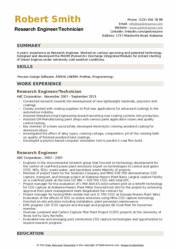 Research Engineer/Technician Resume Example