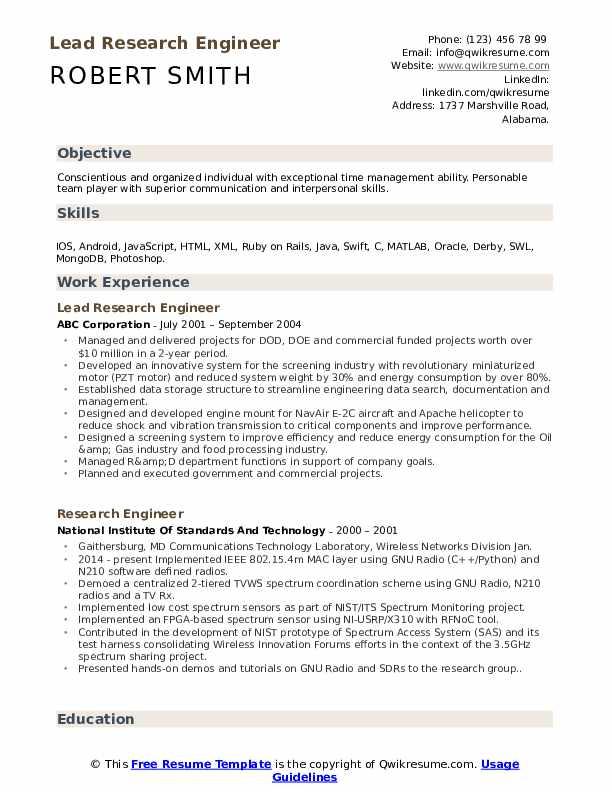 Lead Research Engineer Resume Sample