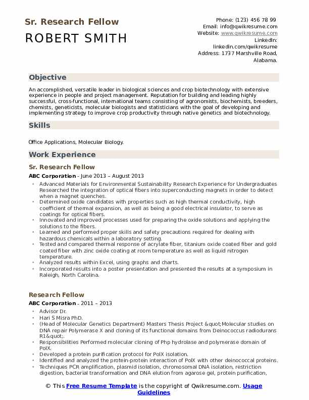 Sr. Research Fellow Resume Example