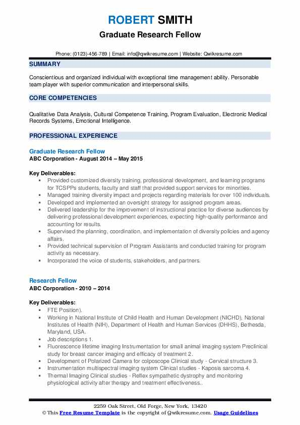 Graduate Research Fellow Resume Format
