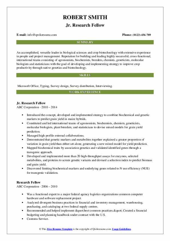 Jr. Research Fellow Resume Sample