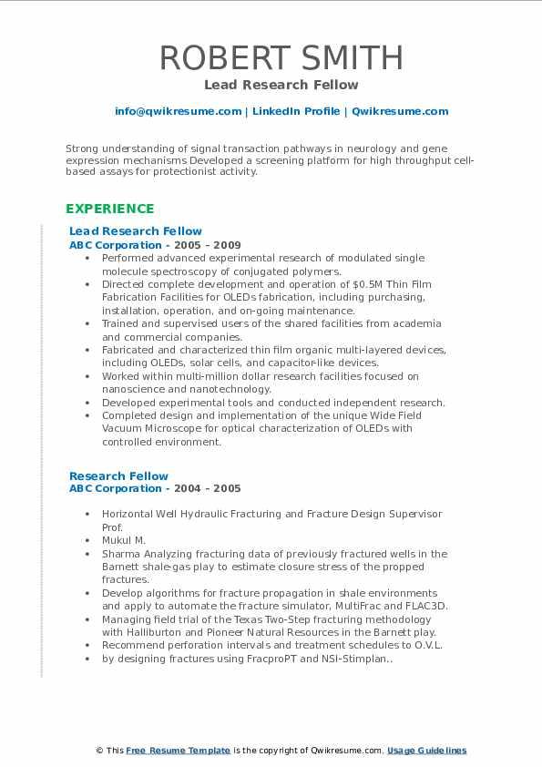 Lead Research Fellow Resume Model