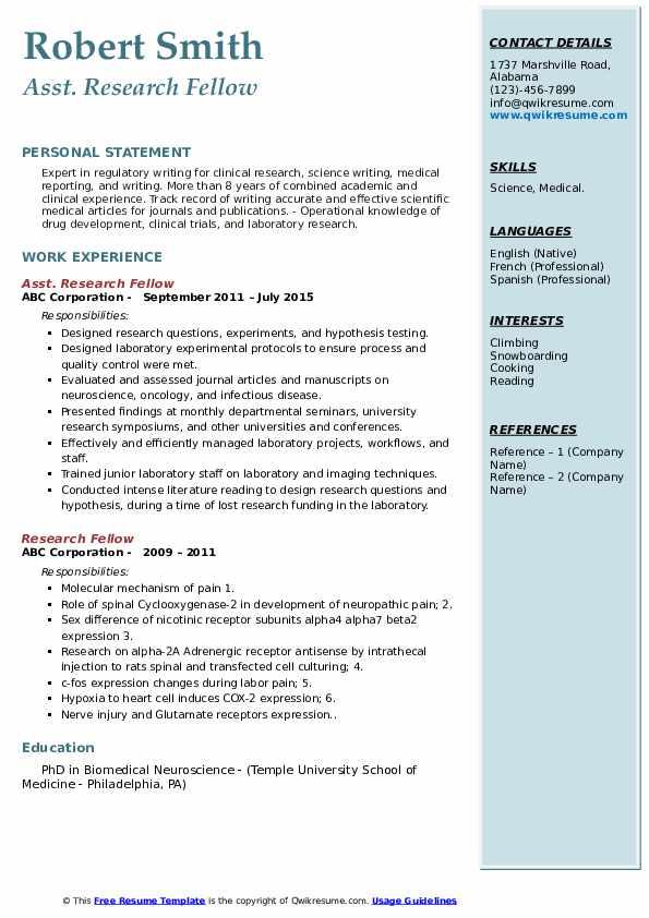 Asst. Research Fellow Resume Sample