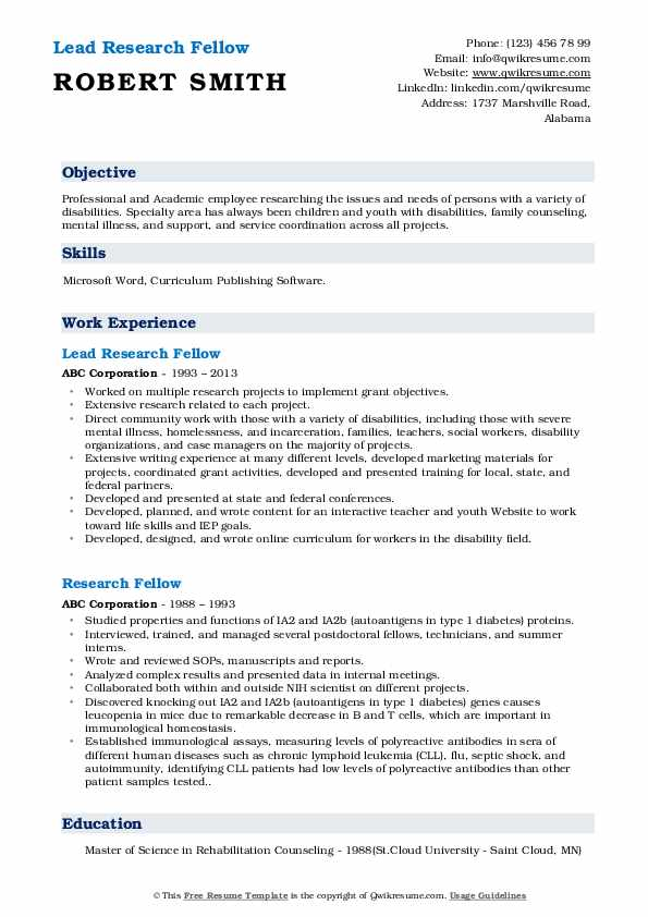 Lead Research Fellow Resume Template