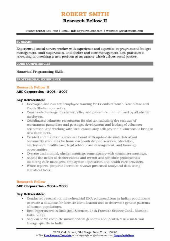 Research Fellow II Resume Format