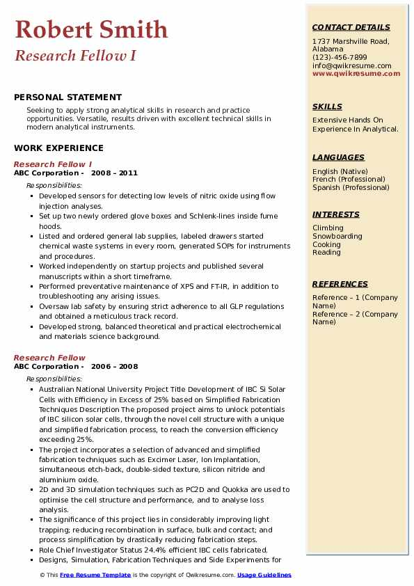 Research Fellow I Resume Format
