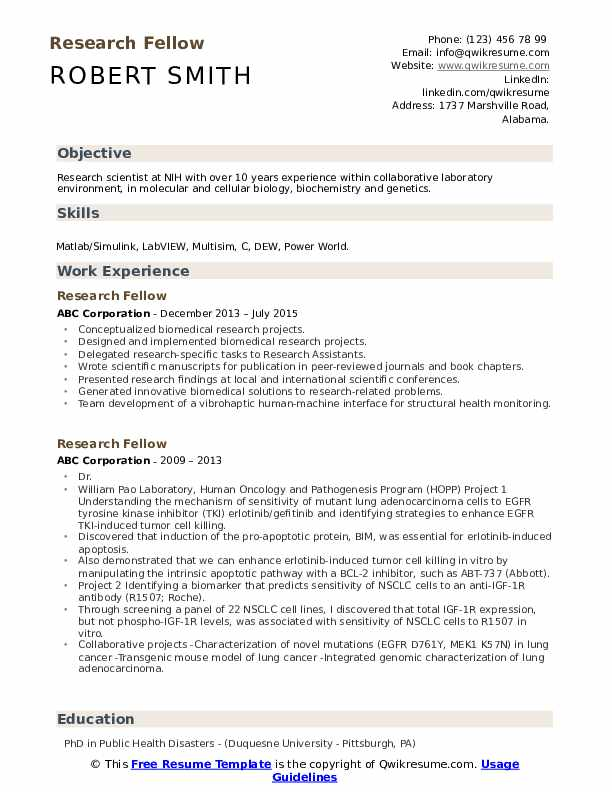 Research Fellow Resume example