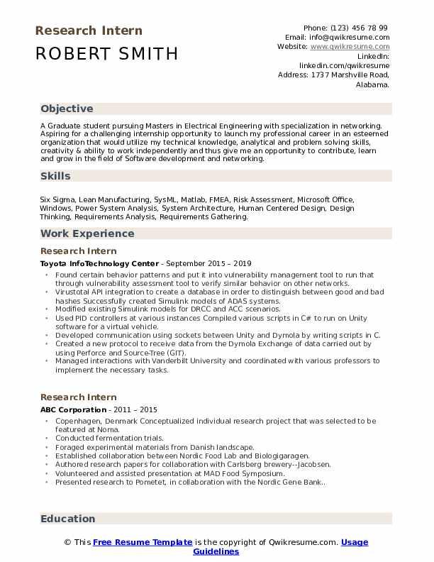 Research Intern Resume Sample