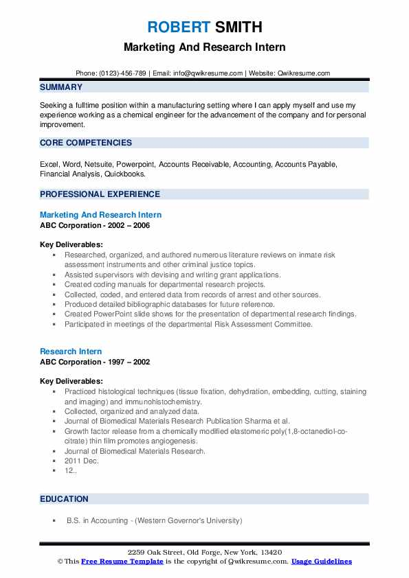 Marketing And Research Intern Resume Model