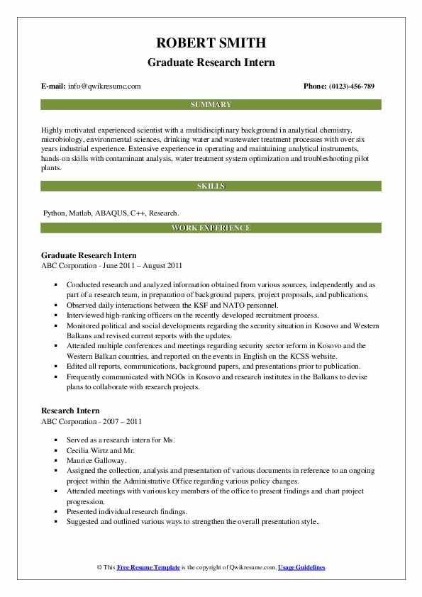 Graduate Research Intern Resume Template
