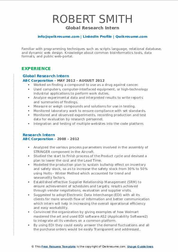 Global Research Intern Resume Sample