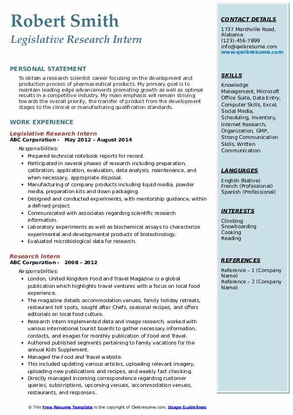 Legislative Research Intern Resume Example