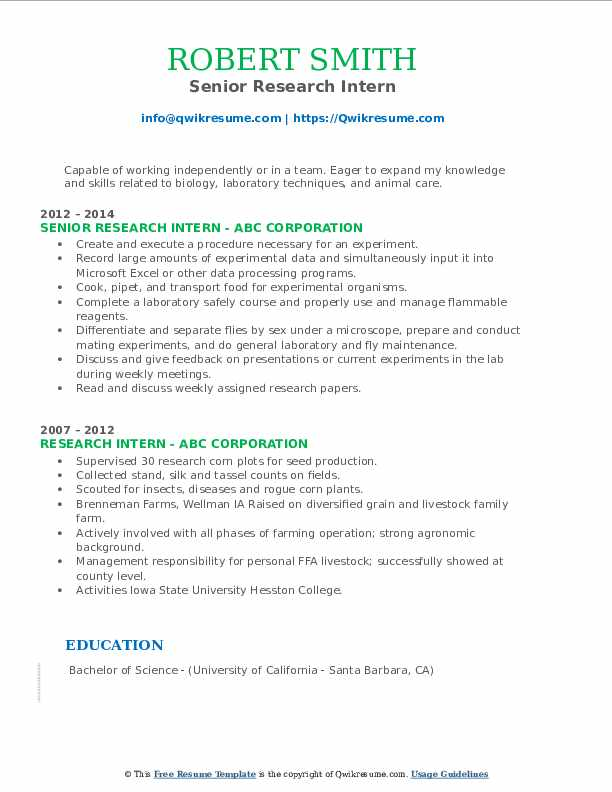 Senior Research Intern Resume Example