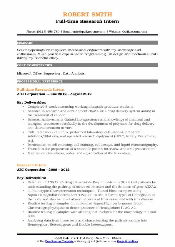 Full-time Research Intern Resume Template