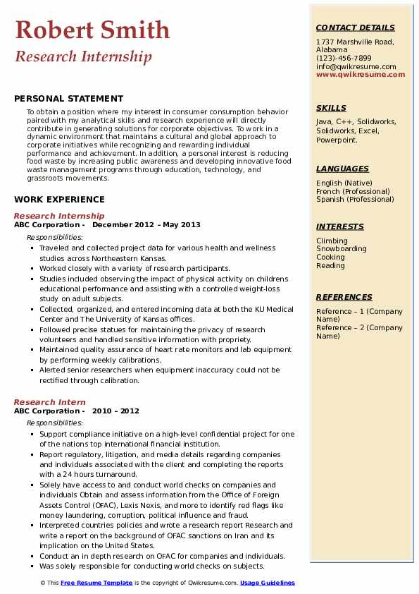 Research Internship Resume Model