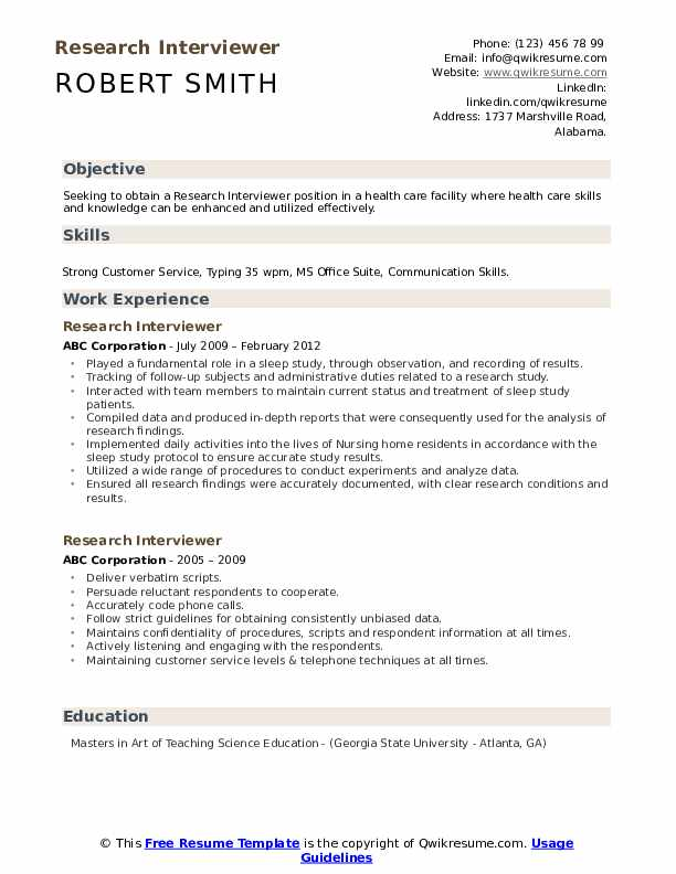 Research Interviewer Resume Template