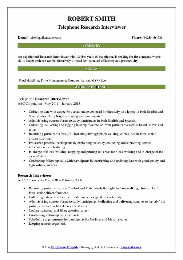 Research Interviewer Resume Samples Qwikresume