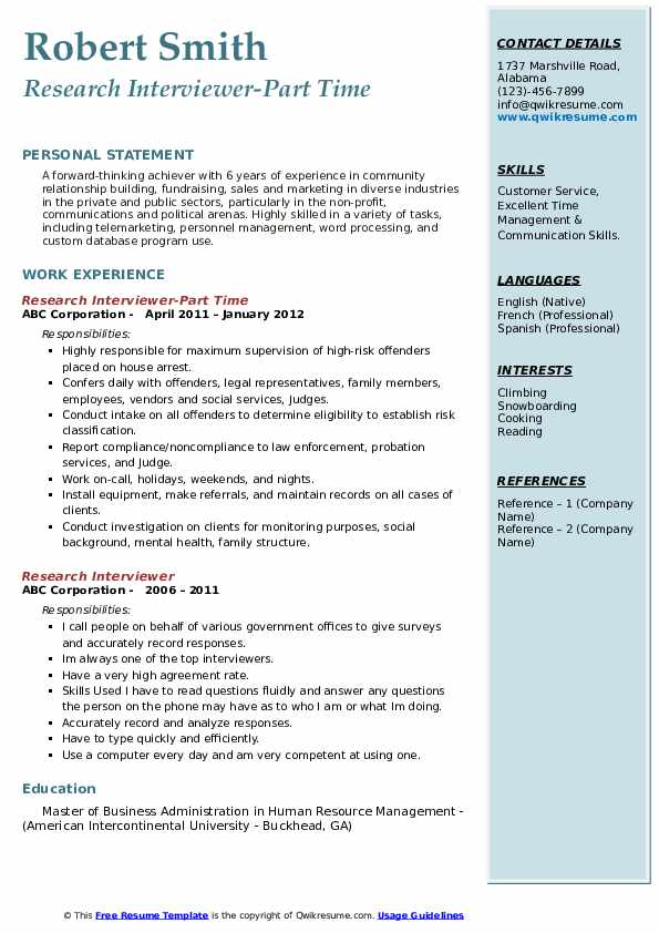 Research Interviewer-Part Time Resume Template