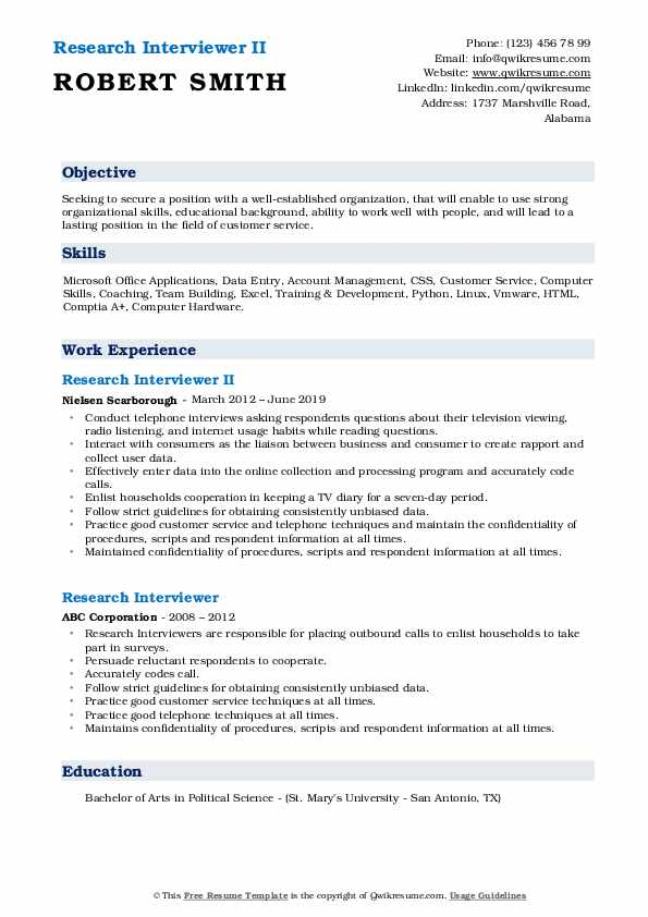 Research Interviewer II Resume Format