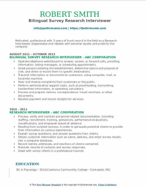 Bilingual Survey Research Interviewer Resume Sample