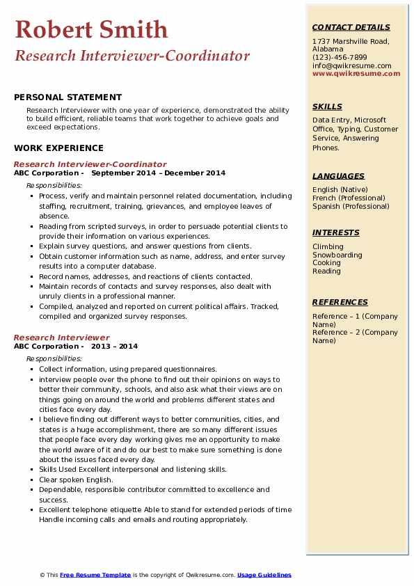 Research Interviewer-Coordinator Resume Format