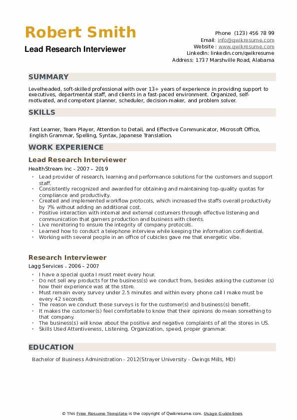 Lead Research Interviewer  Resume Sample