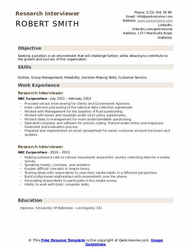 Research Interviewer Resume example