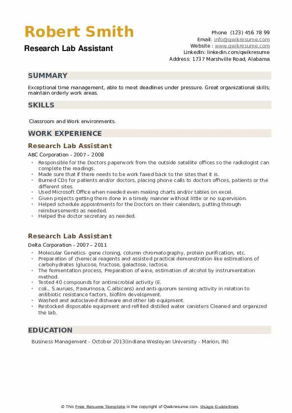 Research Lab Assistant Resume example