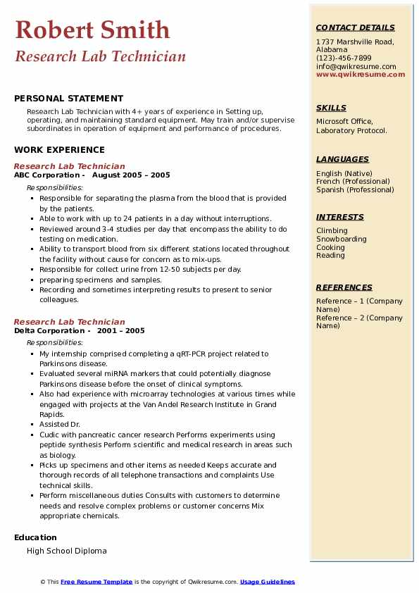 research lab technician resume samples  qwikresume