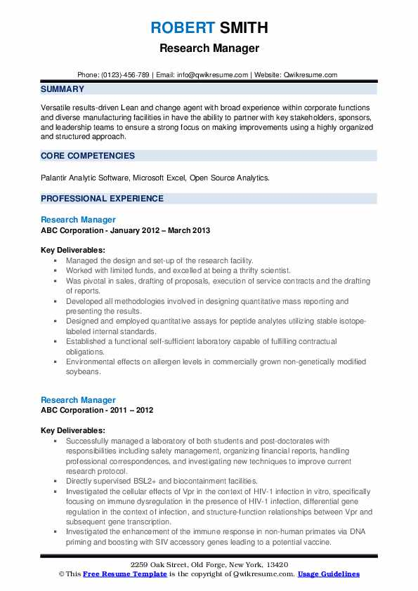 Research Manager Resume example