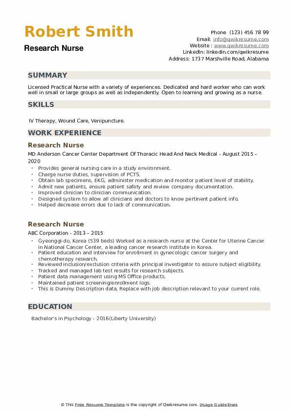 Research Nurse Resume example