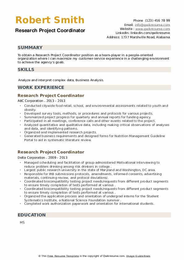 Research Project Coordinator Resume example